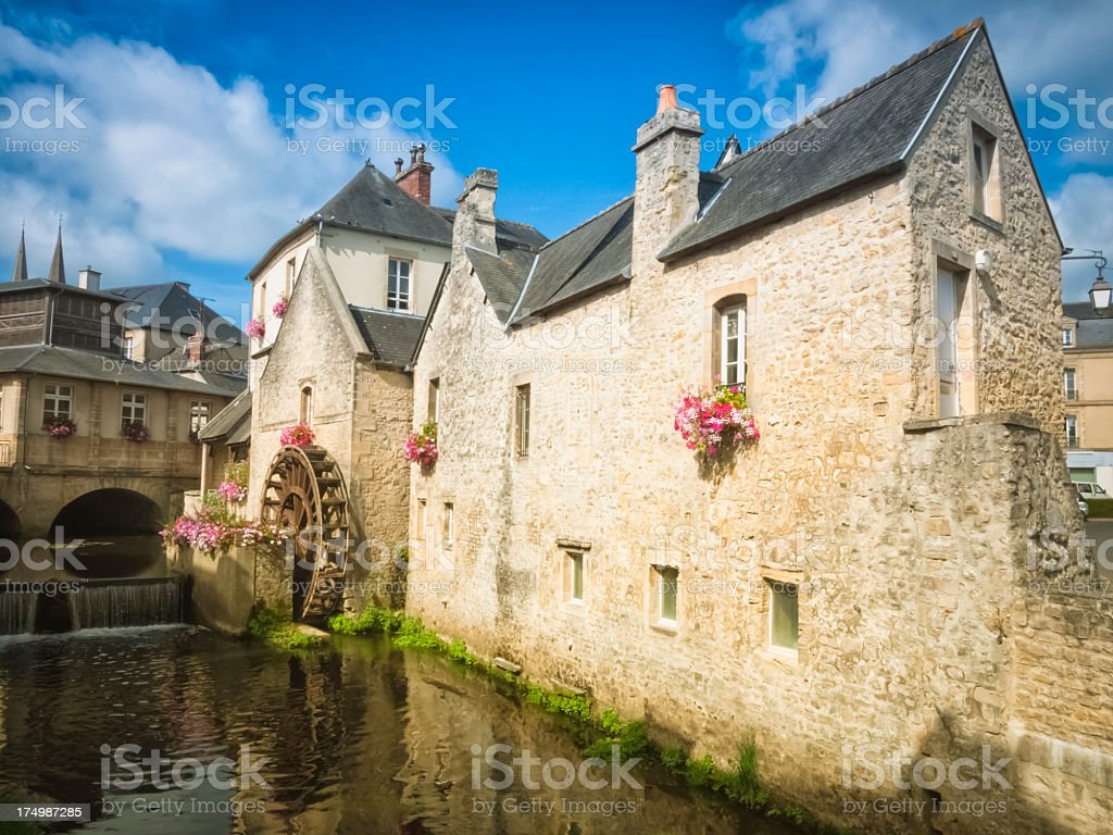 Traditional town in Normandy, France stock photo