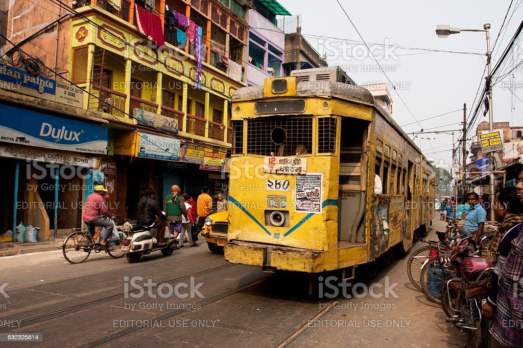 Traditional tram downtown Kolkata at the bright day stock photo