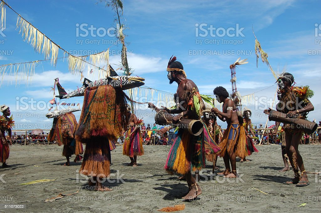 Traditional tribal event at mask festival stock photo