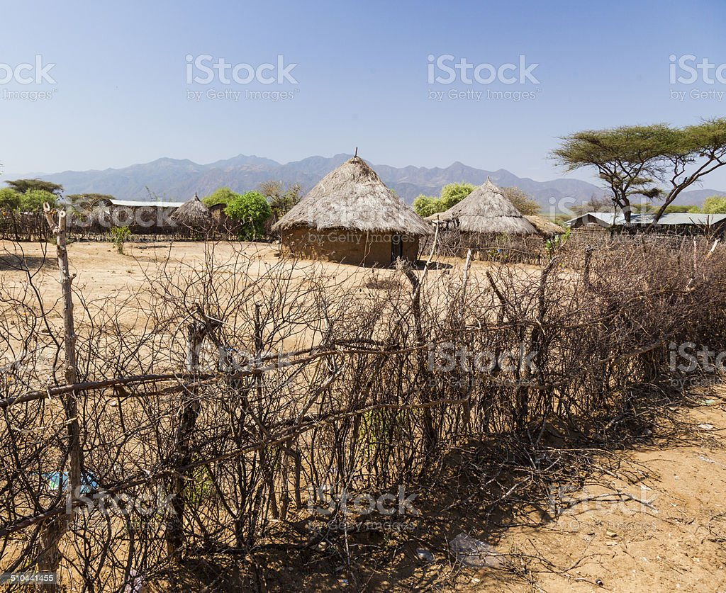 Traditional tsemay houses. Weita. Omo Valley. Ethiopia. stock photo