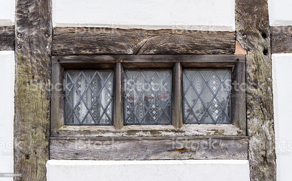 Traditional Tudor style window frame stock photo