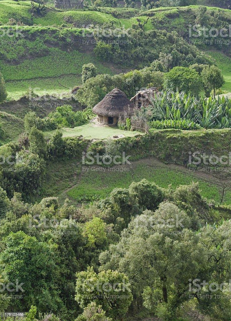 Traditional tukol amidst Ethiopian countryside royalty-free stock photo