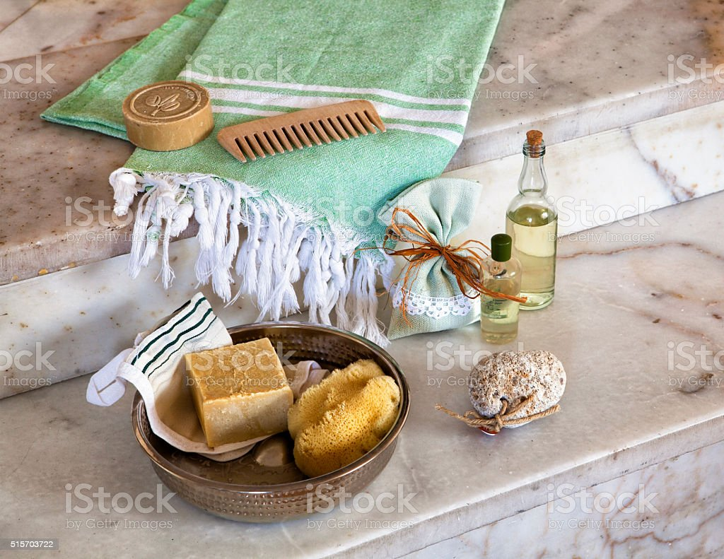 traditional turkish bath material stock photo