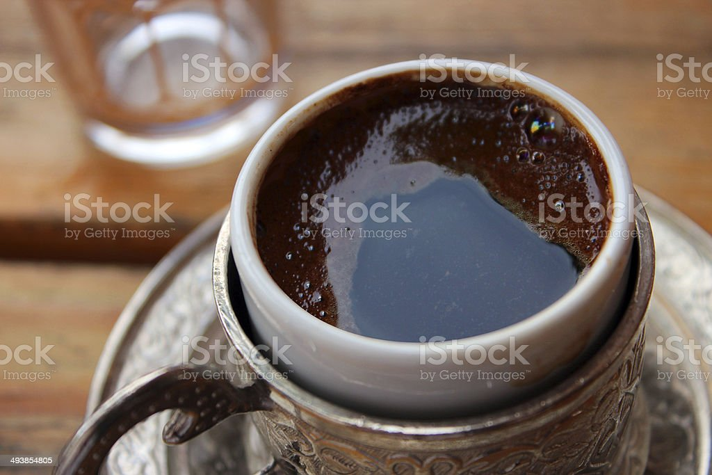 Traditional turkish coffee, authentic copper coffee cup royalty-free stock photo
