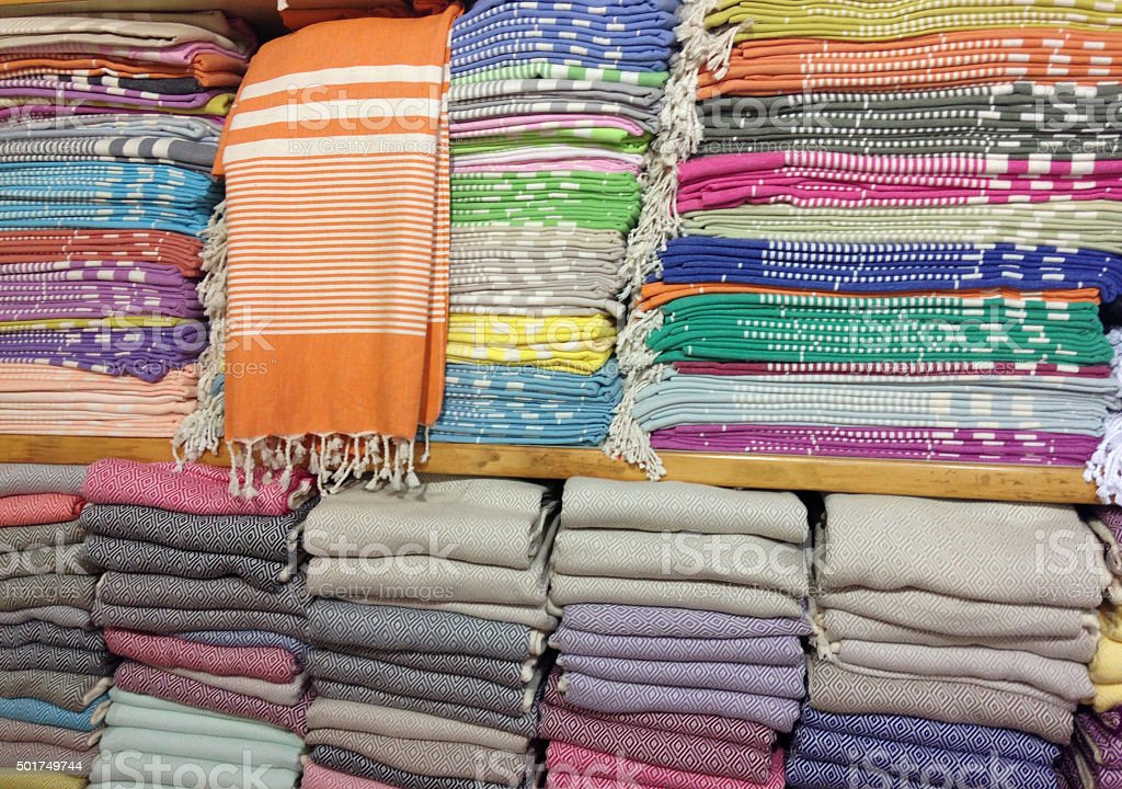 Traditional turkish cotton towels stock photo