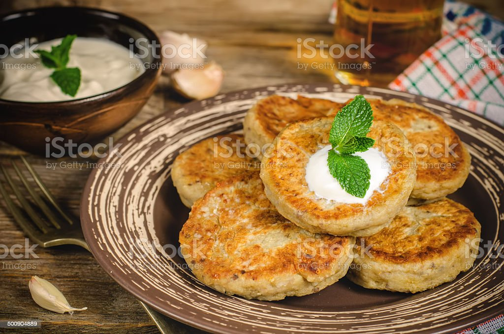traditional turkish cutlet (kebab) eggplant stock photo