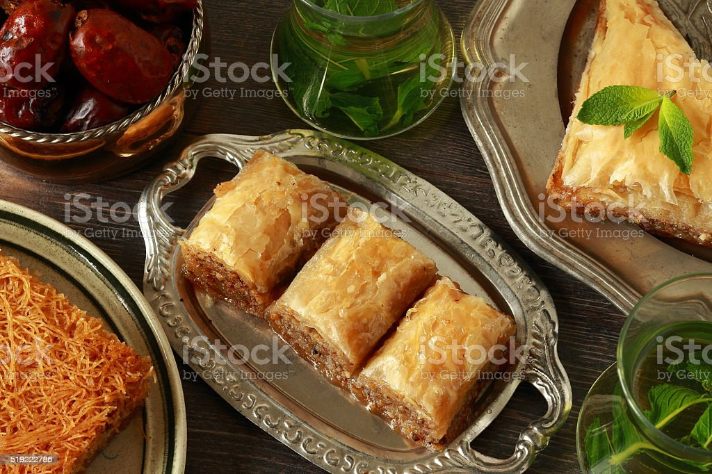 Traditional turkish desserts stock photo