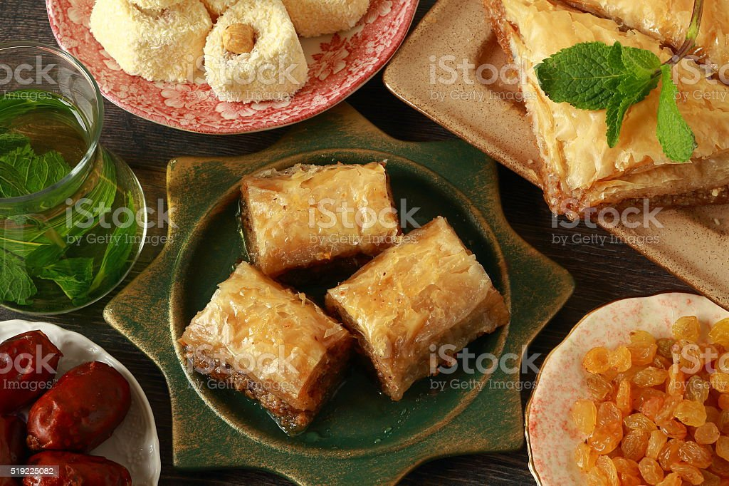 Traditional turkish desserts stock photo