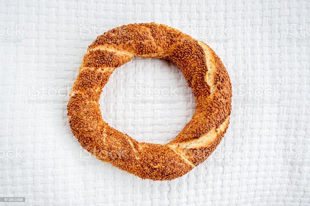 Traditional Turkish Donut (Simit) on a White Cover stock photo