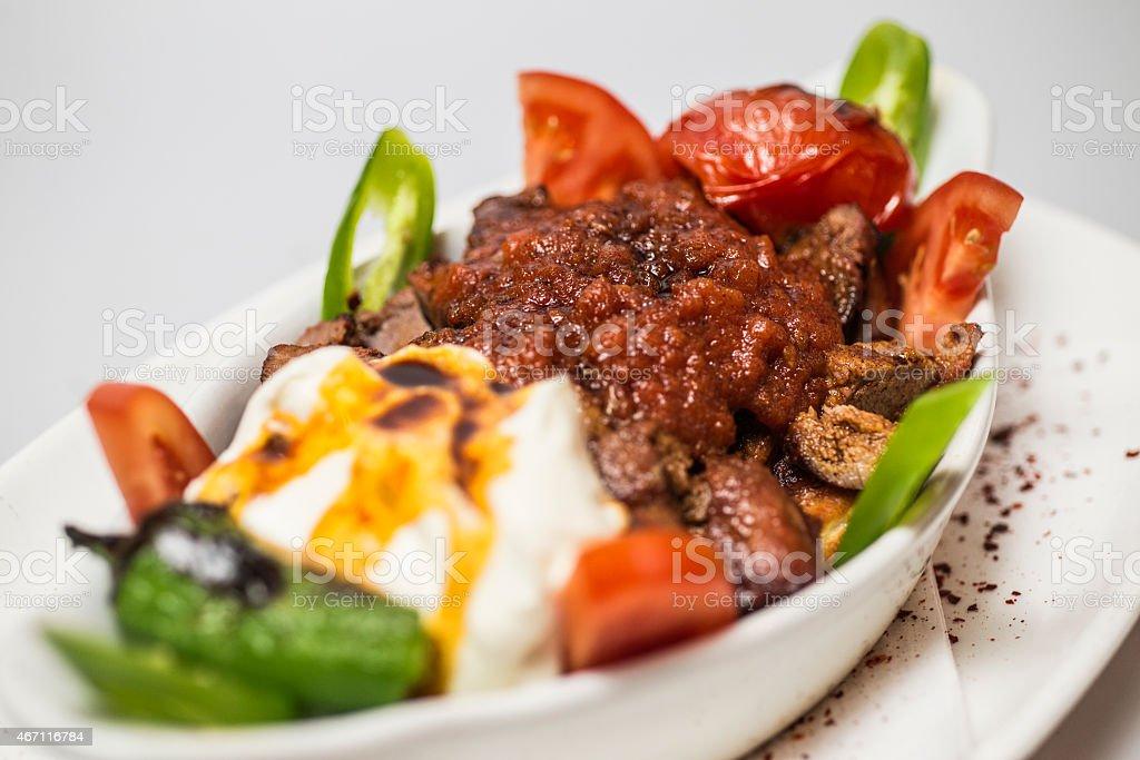 Traditional Turkish food - Iskender kebap stock photo