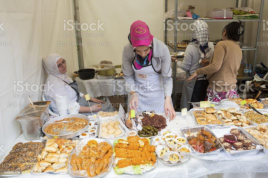 Traditional Turkish food presentation stock photo