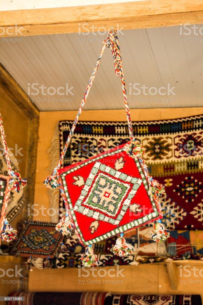 Traditional turkish handmade bag as gift items stock photo
