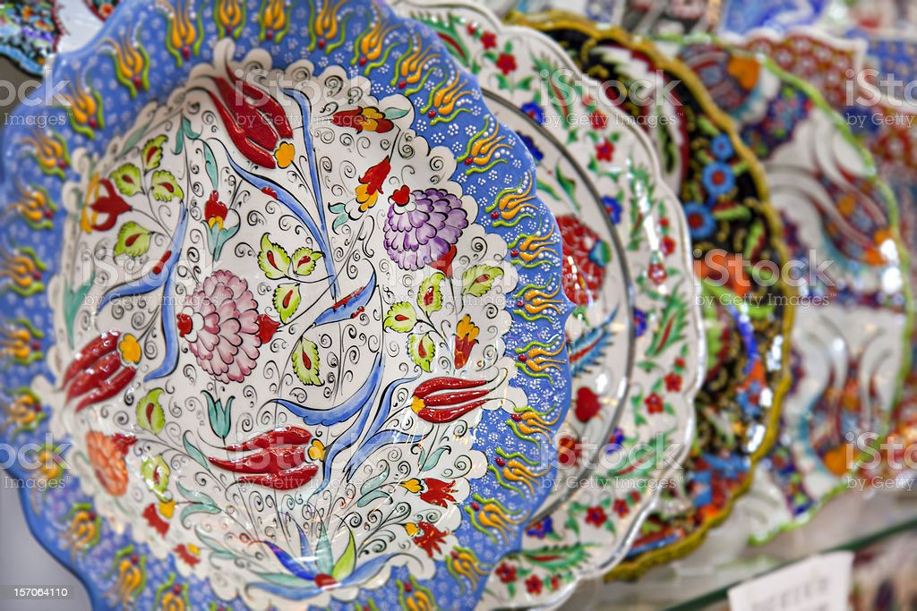 Traditional turkish iznik plates royalty-free stock photo