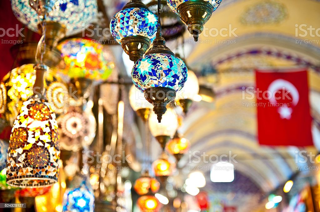 Traditional Turkish lamps in the Grand bazaar, Istanbul stock photo
