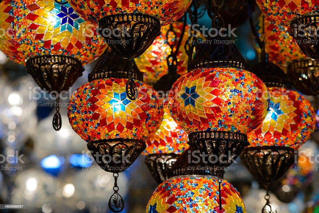 Traditional turkish mosaic lanterns stock photo