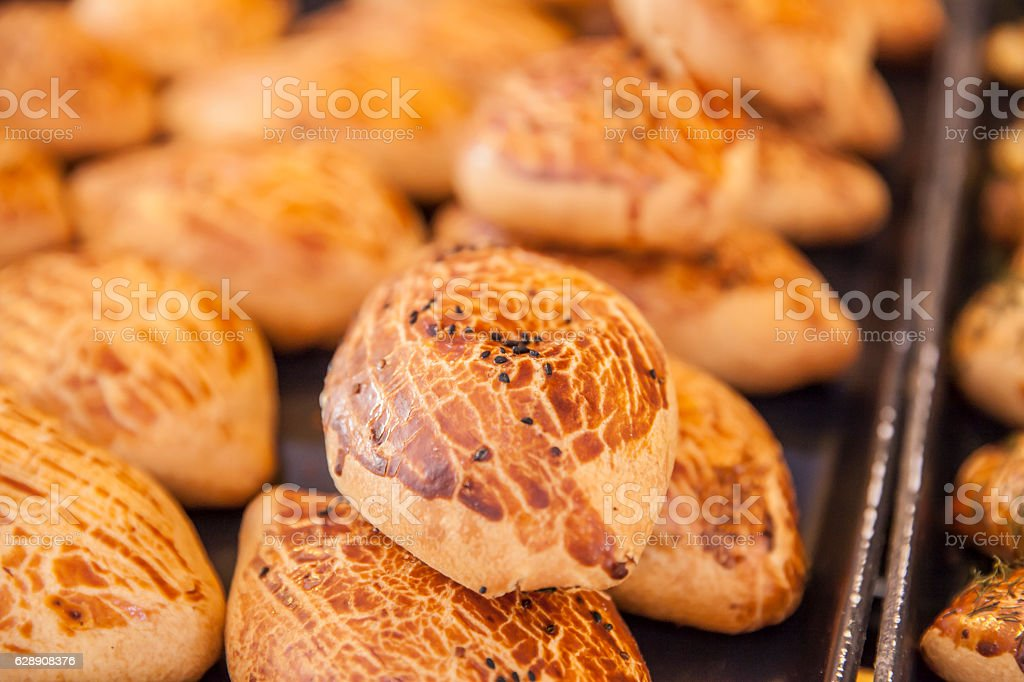 traditional turkish pastry pogaca with cheese at shop stock photo