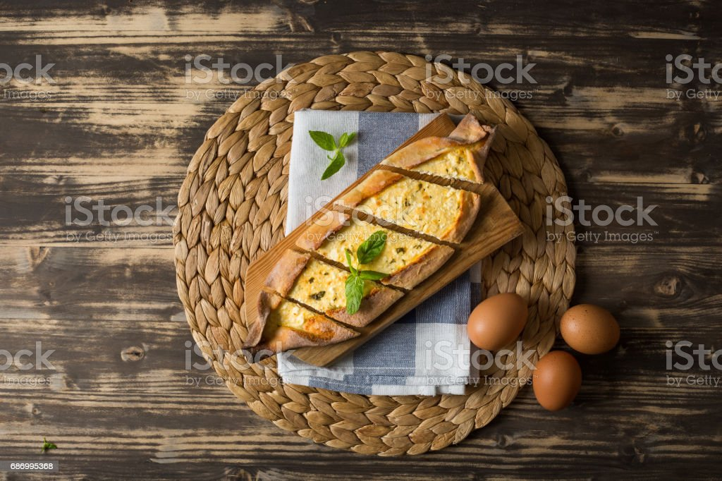 Traditional Turkish Pita with Cheese stock photo
