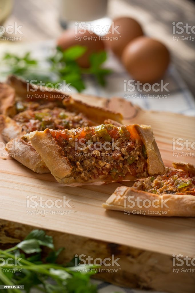 Traditional Turkish Pita with Mince stock photo