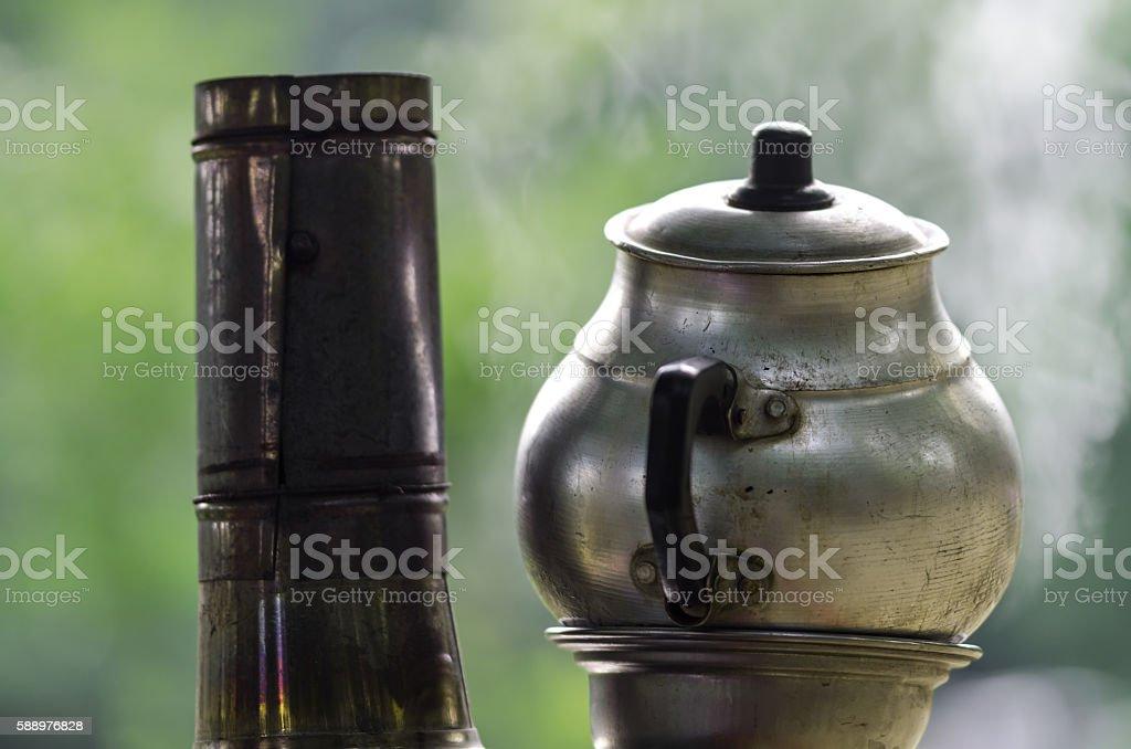 Traditional Turkish Tea Urn stock photo