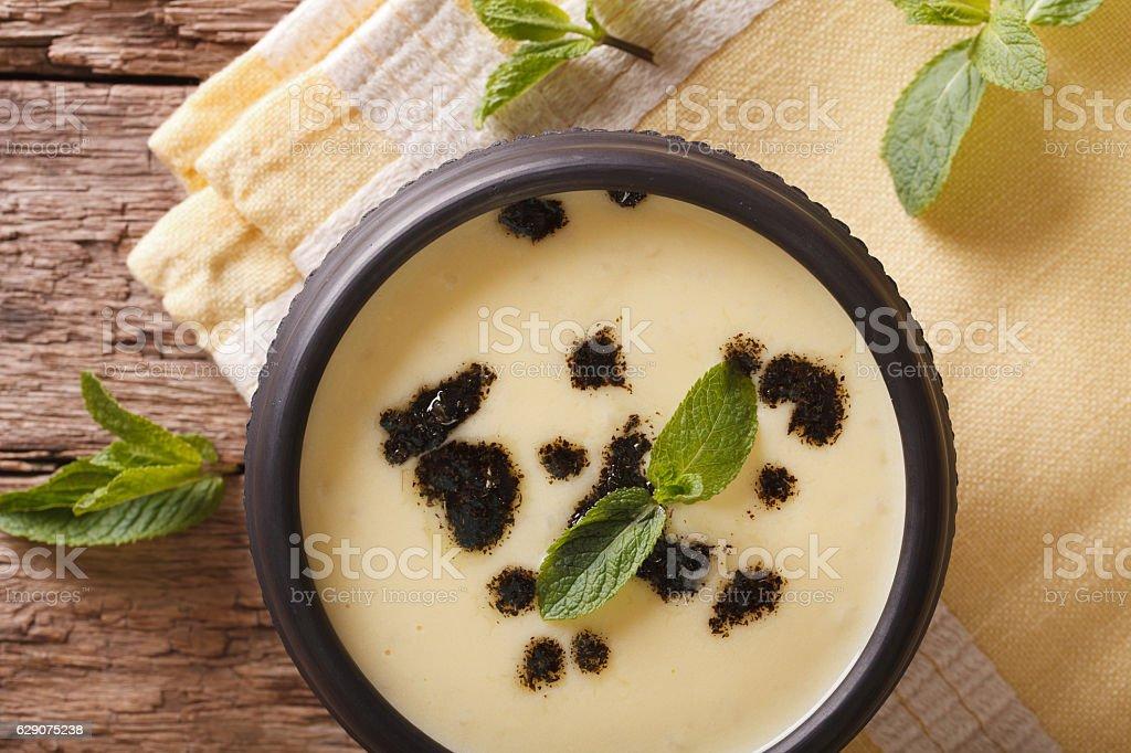 Traditional Turkish Yayla soup with mint and yogurt closeup stock photo