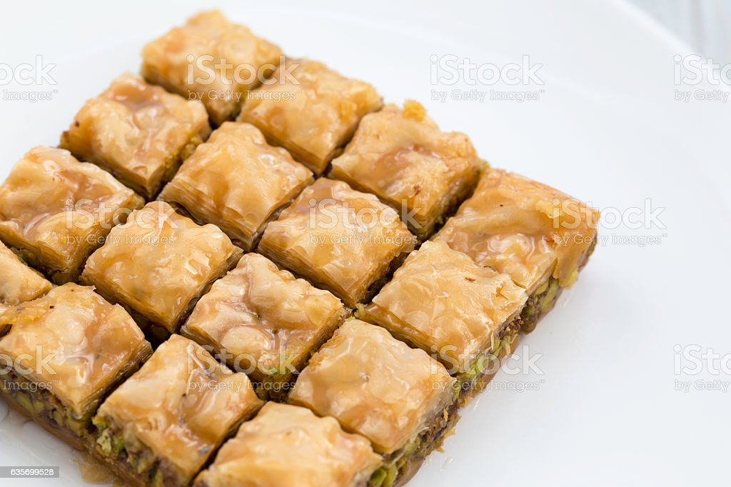 Traditional Turkish/Arabic dessert, baklava with pistachio stock photo