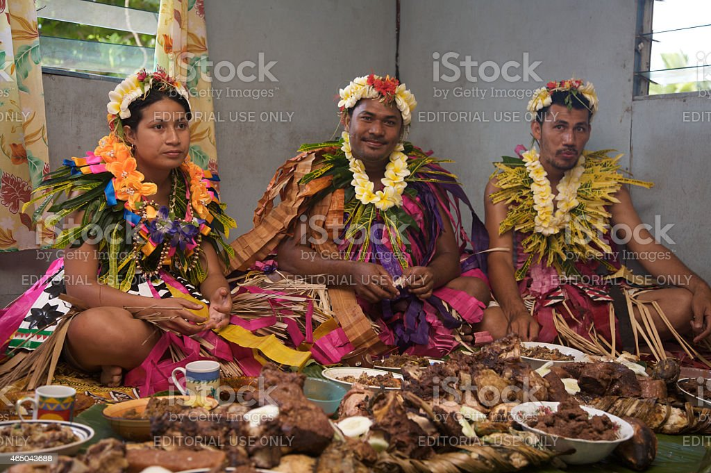 Traditional Tuvaluan Wedding Ceremony stock photo