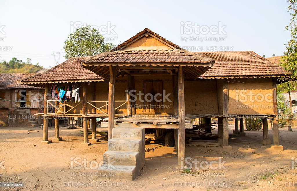 Traditional typical Bahnar house stock photo