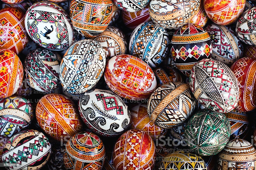 Traditional Ukrainian colored Easter eggs stock photo