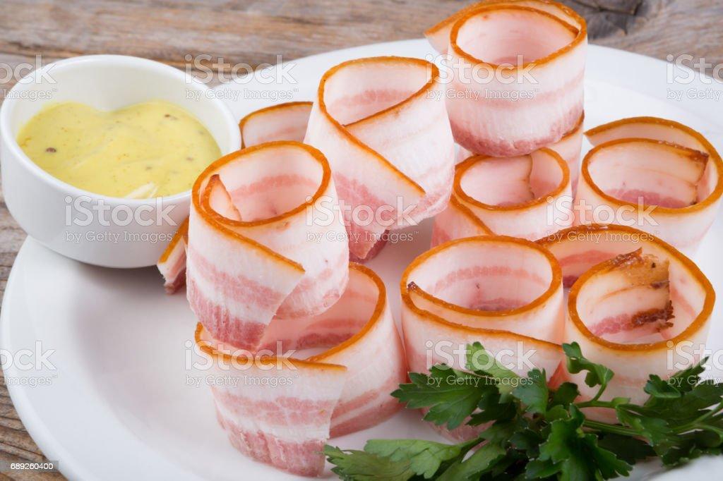 Traditional Ukrainian sort of smoked bacon lard stock photo