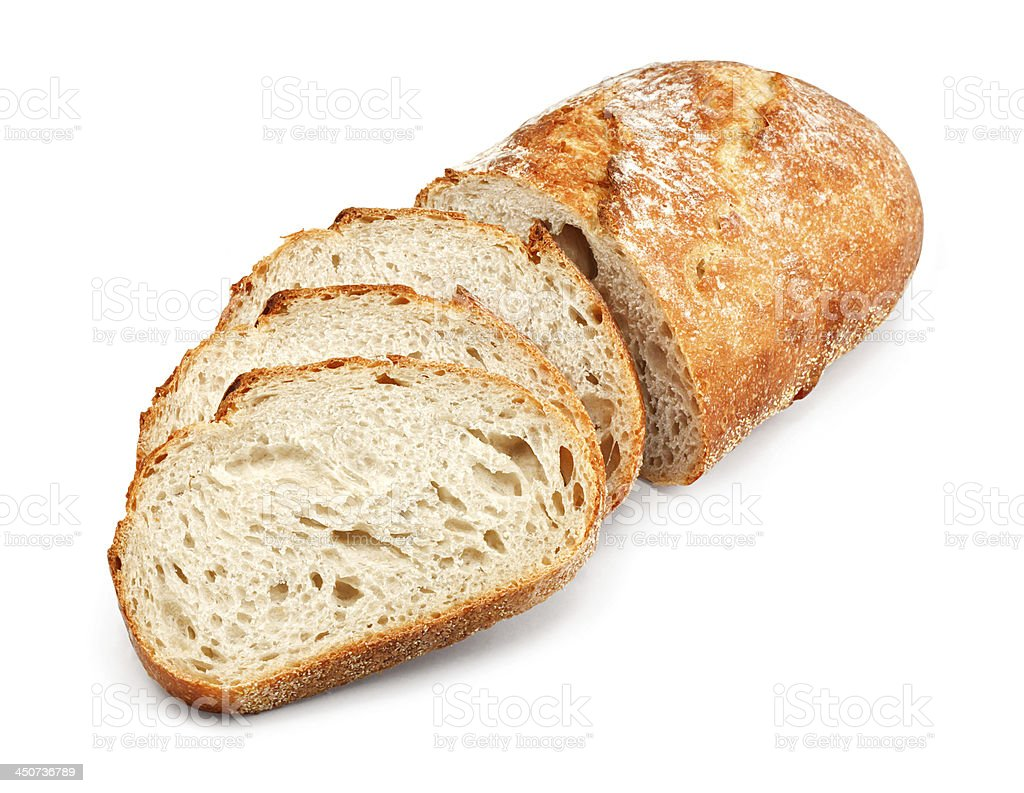 traditional unsliced bread loaf stock photo