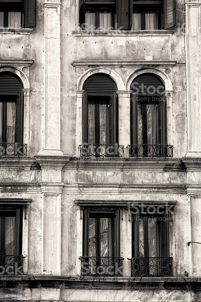 Traditional Venetian Facade. Black and White stock photo