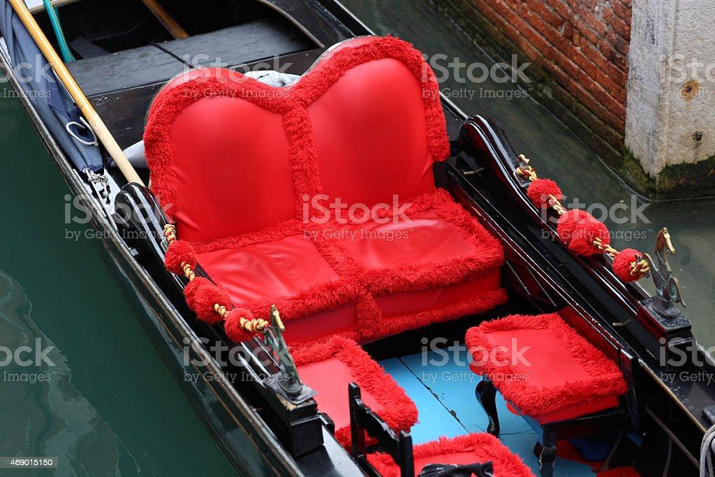 Traditional Venice gondolas waiting for a romantic ride stock photo