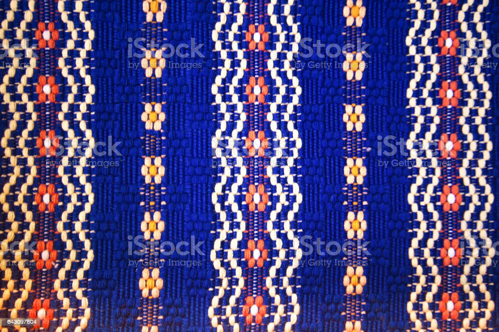 Traditional Vibrant Mexican Cotton Woven Rug/Textile Detail (Close-Up) stock photo