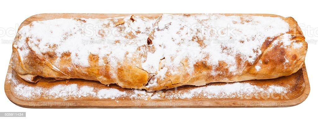 traditional viennese apple strudel on wooden board stock photo