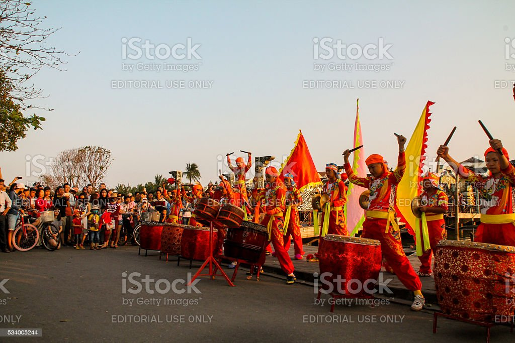 Traditional Vietnamese band with amazing costumes and drums pull stock photo