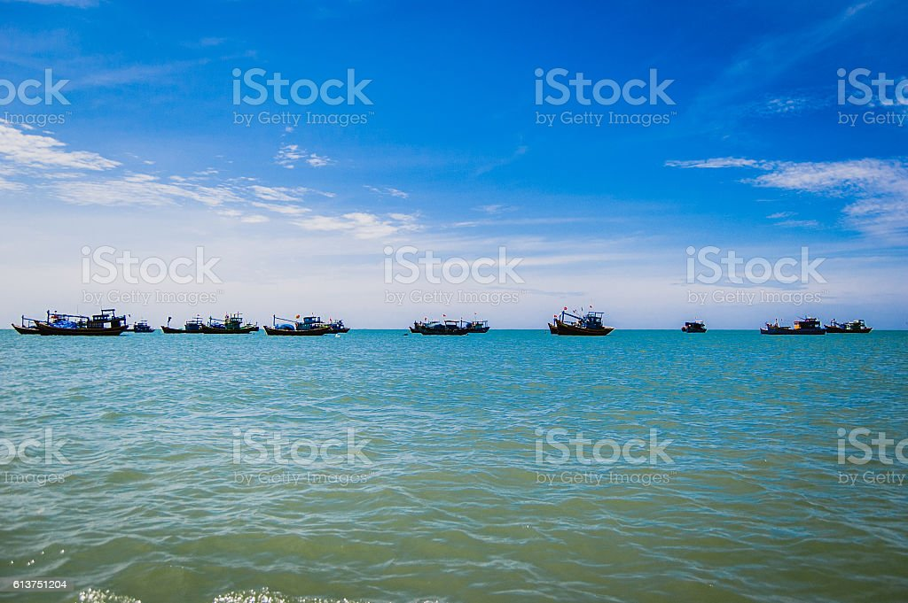 Traditional Vietnamese fishing boats stock photo
