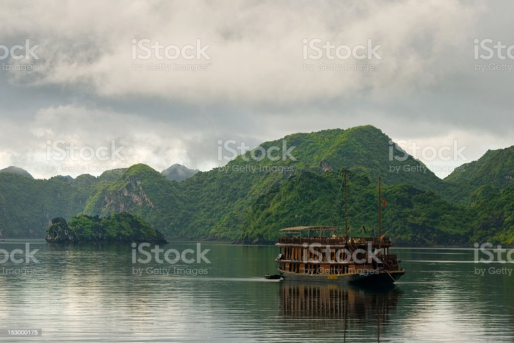 Traditional Vietnamese Junk in Halong Bay royalty-free stock photo