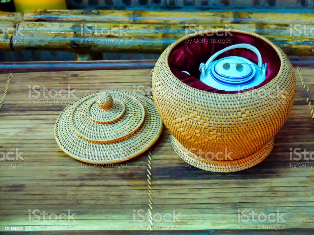 traditional vietnamese tea-cosy for teapot stock photo