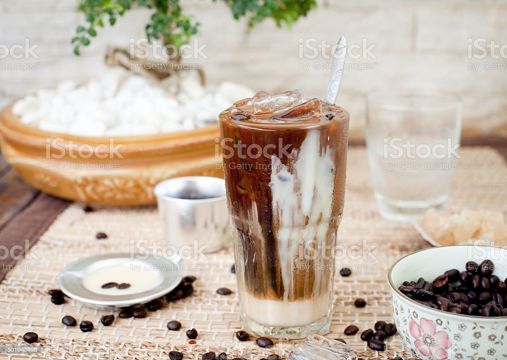 Traditional Vietnamese, Thai Ice coffee with beans stock photo