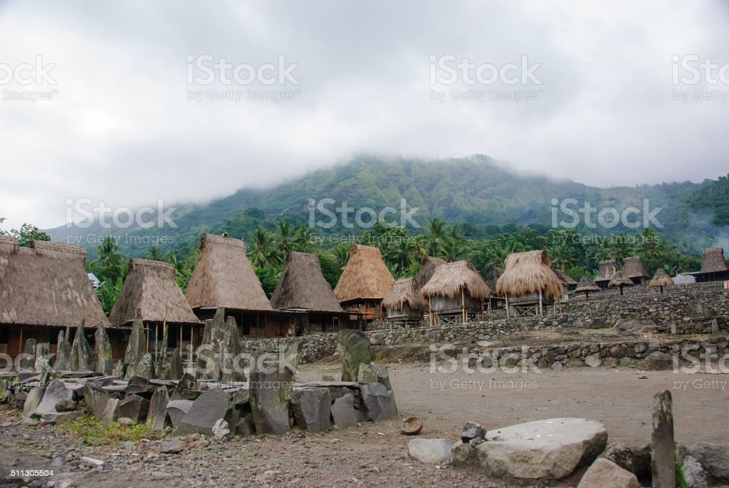 traditional village Bena on Flores Island Indonesia stock photo