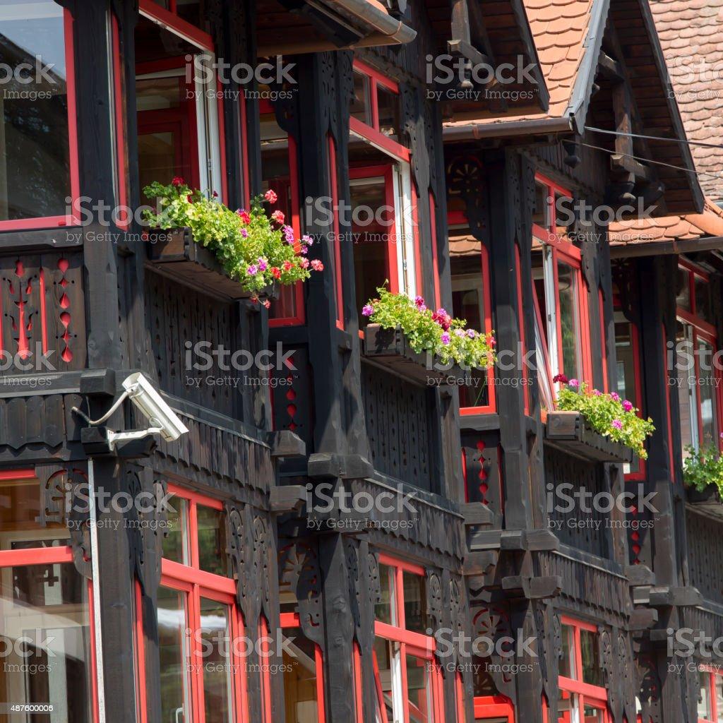 Traditional village facade in Sovata, Transylvania, Romania stock photo