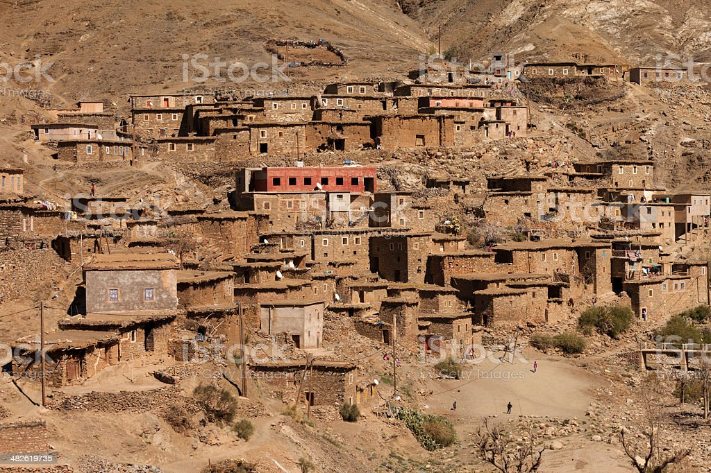 Traditional village in Atlas Mountains royalty-free stock photo