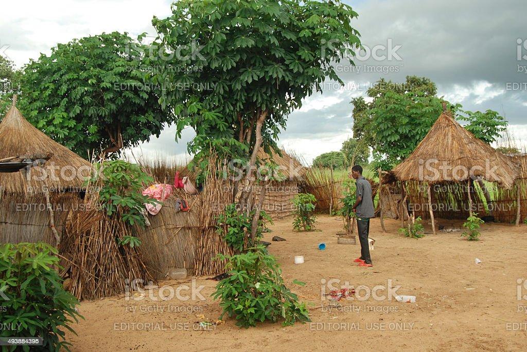 Traditional village in Bagani, Namibia stock photo