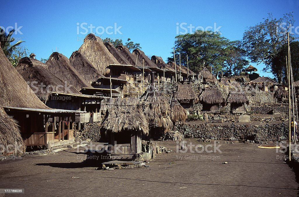 Traditional village in Flores stock photo