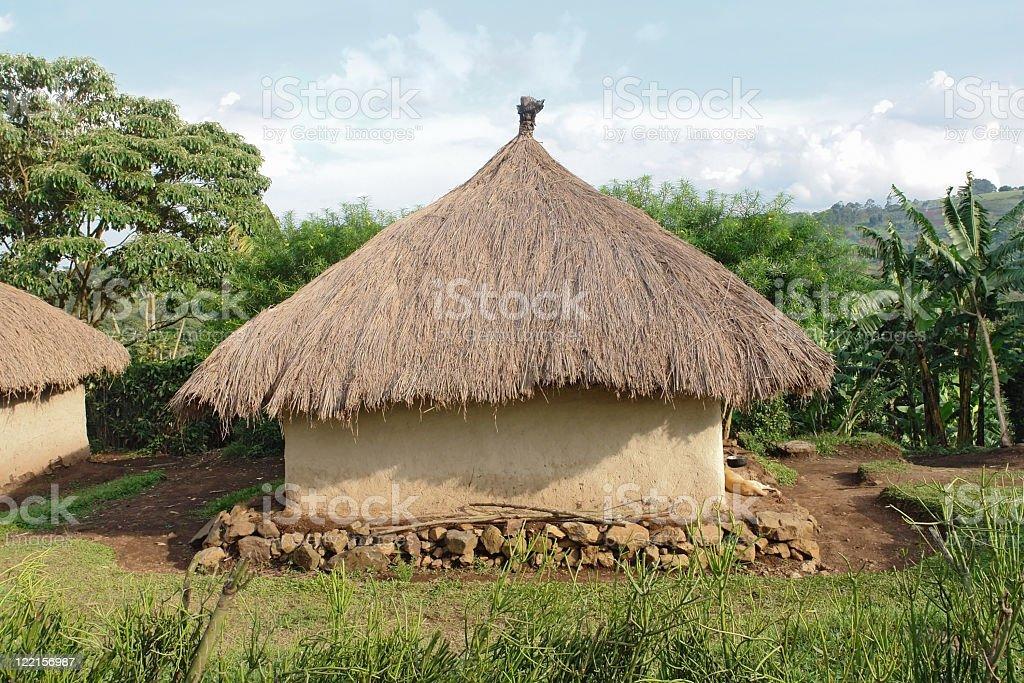 traditional village near Rwenzori Mountains royalty-free stock photo