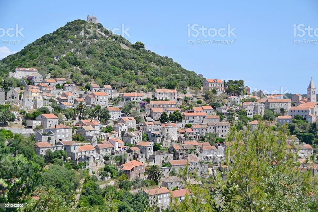 Traditional village on island Lastovo, Croatia stock photo