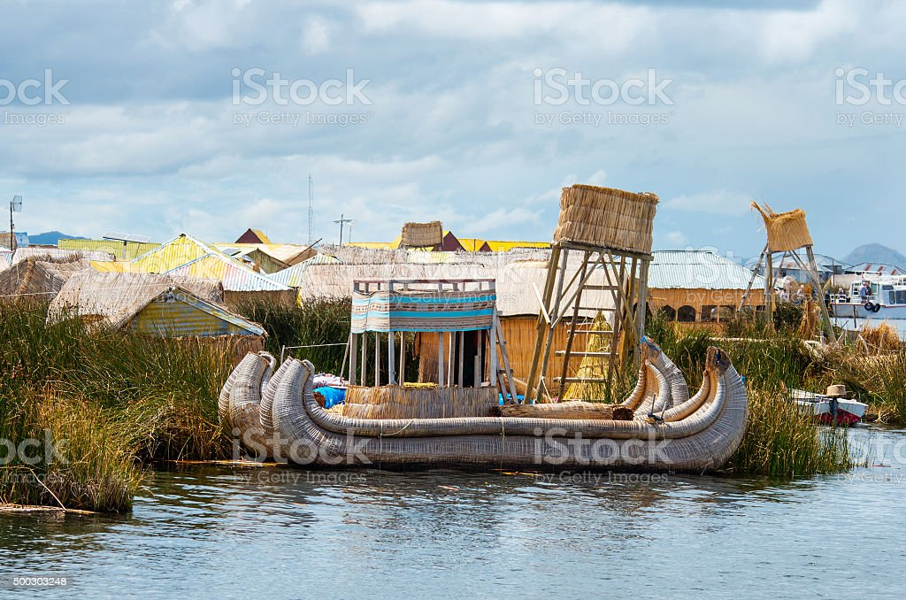 Traditional village  on lake Titicaca in Peru, South America stock photo