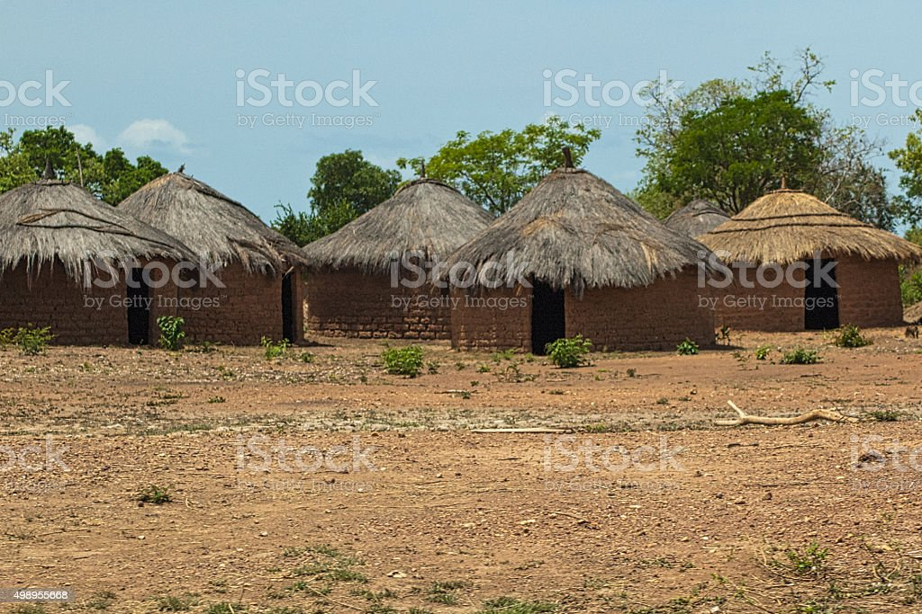 Traditional village on the road to Mali stock photo