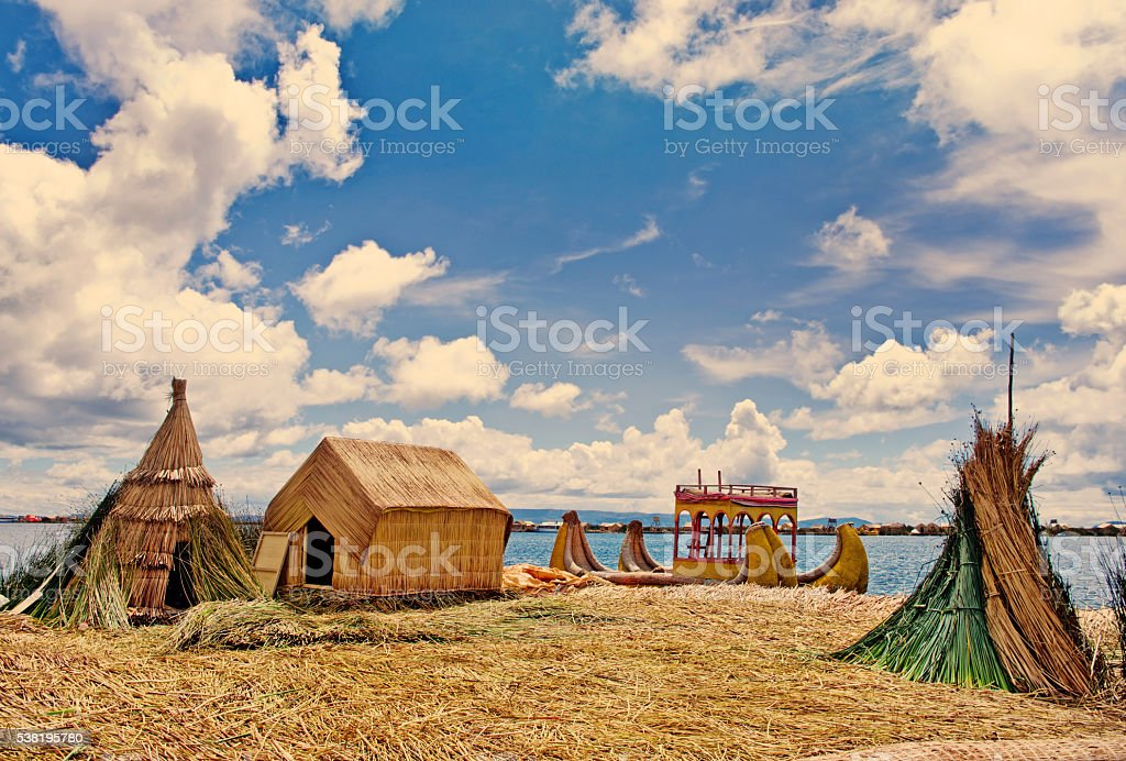 Traditional village on  Uros islands on lake Titicaca in Peru stock photo