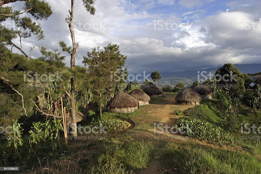 Traditional village - Papua New Guinea stock photo
